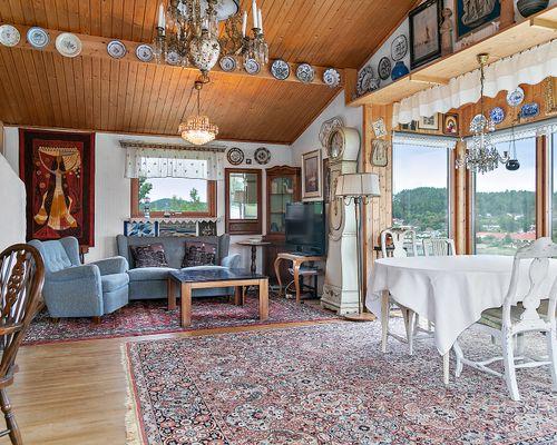 Vardagsrummet med öppen spis och fantastisk utsikt