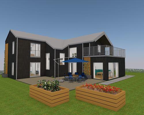Färg på panel & tak på bilden är endast för illustration. Huset uppförs med vit panel och svart tak