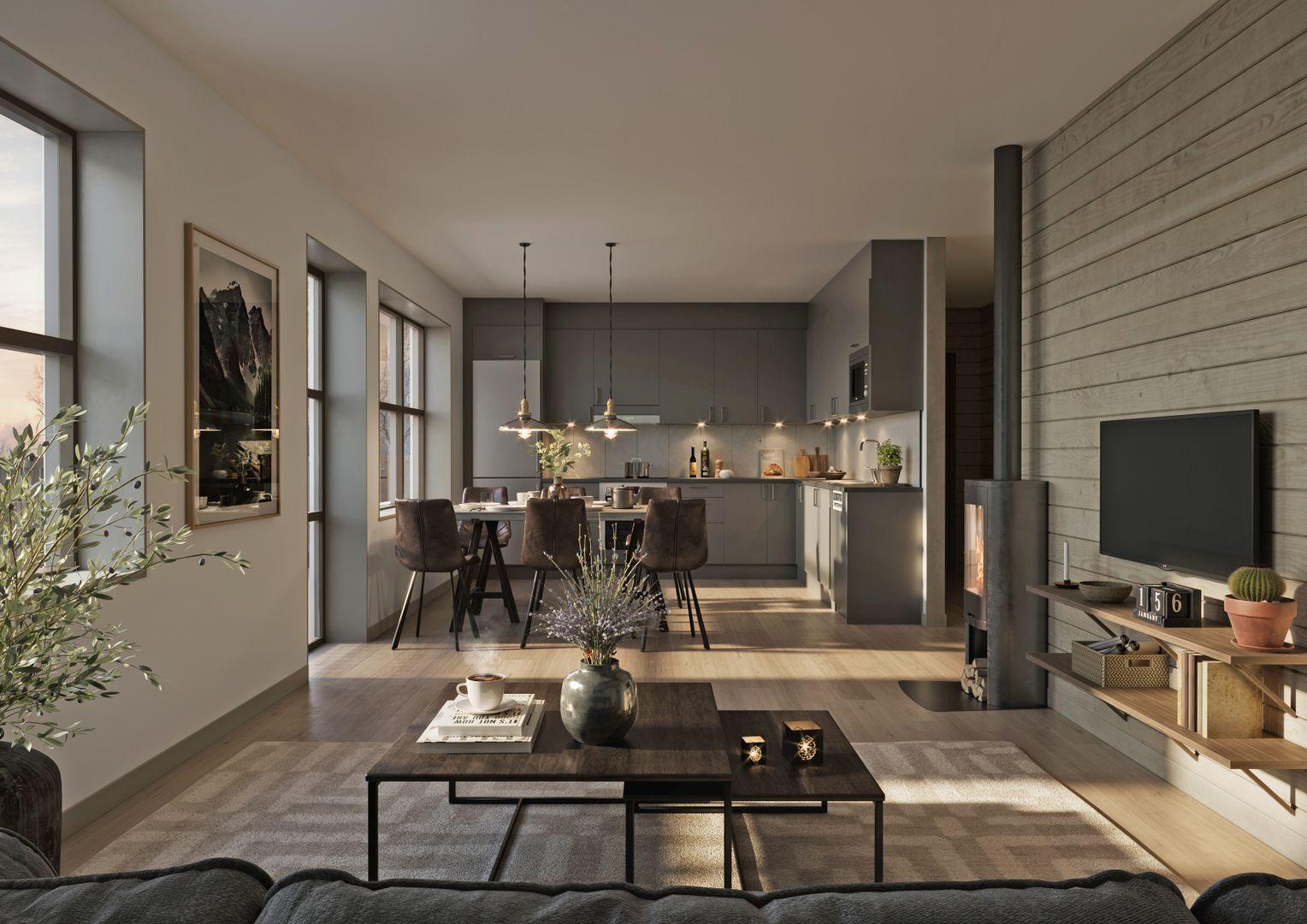 Allrum med vy mot köket, lägenhet 2C. Avvikelser från verkligheten kan förekomma.