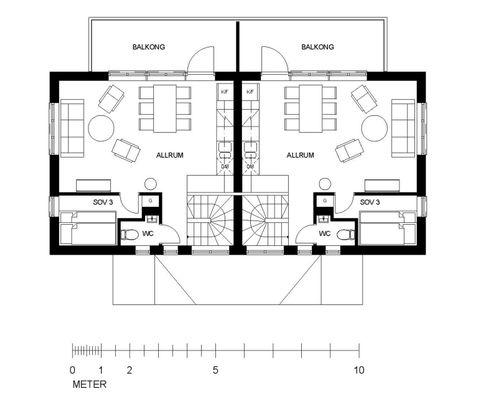 Övre plan. Lägenhet A till vänster, B till höger.