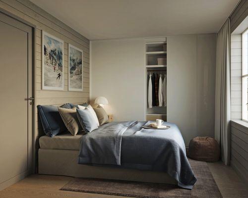 Sovrum i A-lägenhet.