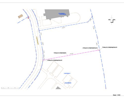 Loglängan 1 Förslag på ny fastighetsgräns