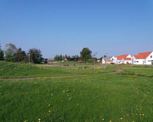 I mitten av området finns ett stort grönområde